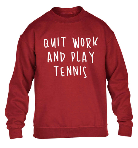 Quit work and play tennis children's grey sweater 12-13 Years