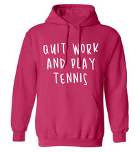 Quit work and play tennis adults unisex pink hoodie 2XL