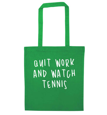Quit work and watch tennis green tote bag
