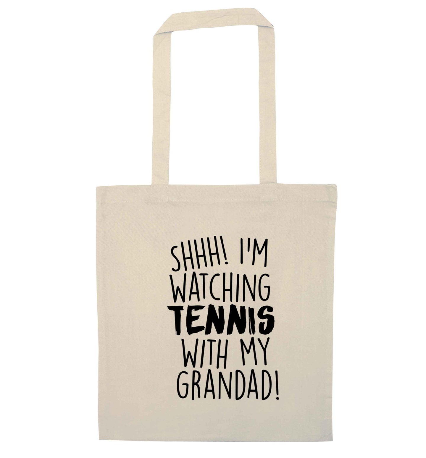 Shh! I'm watching tennis with my grandad! natural tote bag