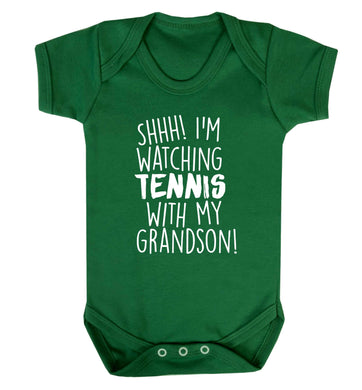 Shh! I'm watching tennis with my grandson! Baby Vest green 18-24 months