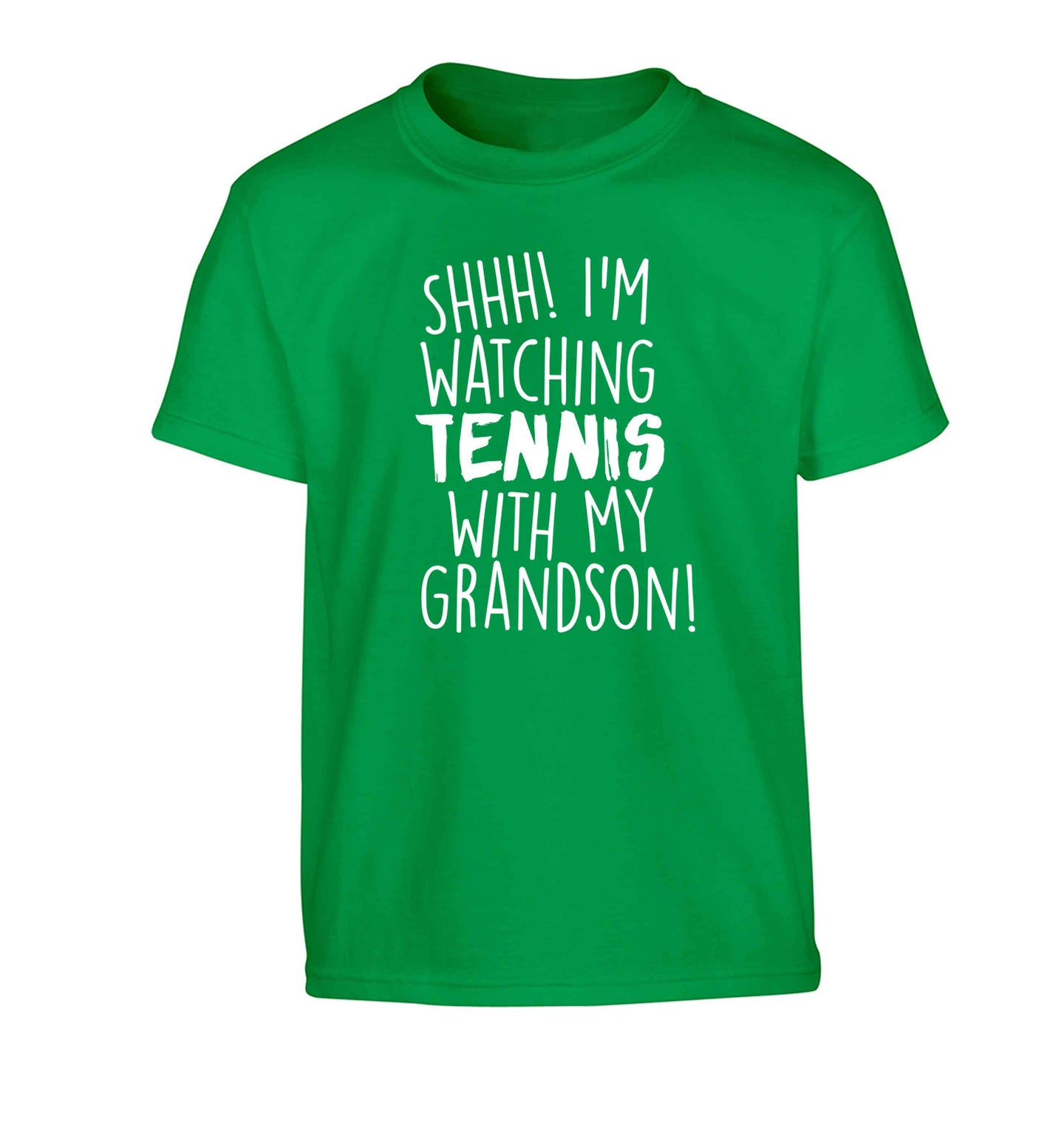 Shh! I'm watching tennis with my grandson! Children's green Tshirt 12-13 Years