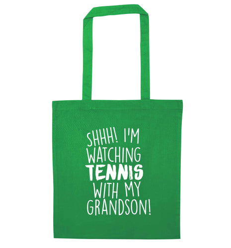 Shh! I'm watching tennis with my grandson! green tote bag