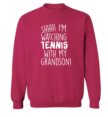 Shh! I'm watching tennis with my grandson! Adult's unisex pink Sweater 2XL
