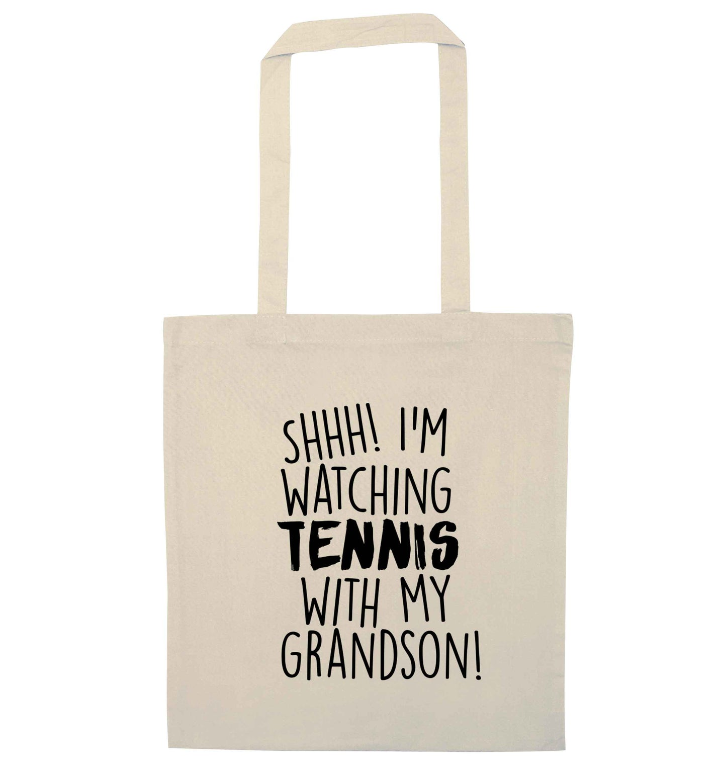 Shh! I'm watching tennis with my grandson! natural tote bag