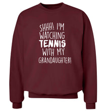 Shh! I'm watching tennis with my granddaughter! Adult's unisex maroon Sweater 2XL