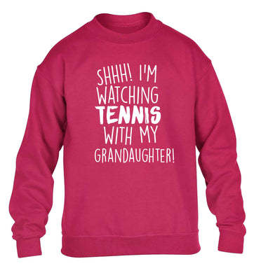 Shh! I'm watching tennis with my granddaughter! children's pink sweater 12-13 Years