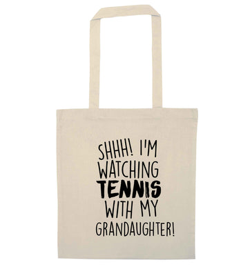 Shh! I'm watching tennis with my granddaughter! natural tote bag