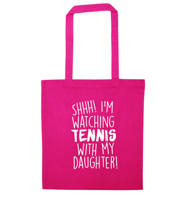 Shh! I'm watching tennis with my daughter! pink tote bag
