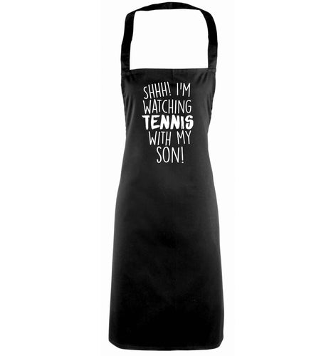 Shh! I'm watching tennis with my son! black apron