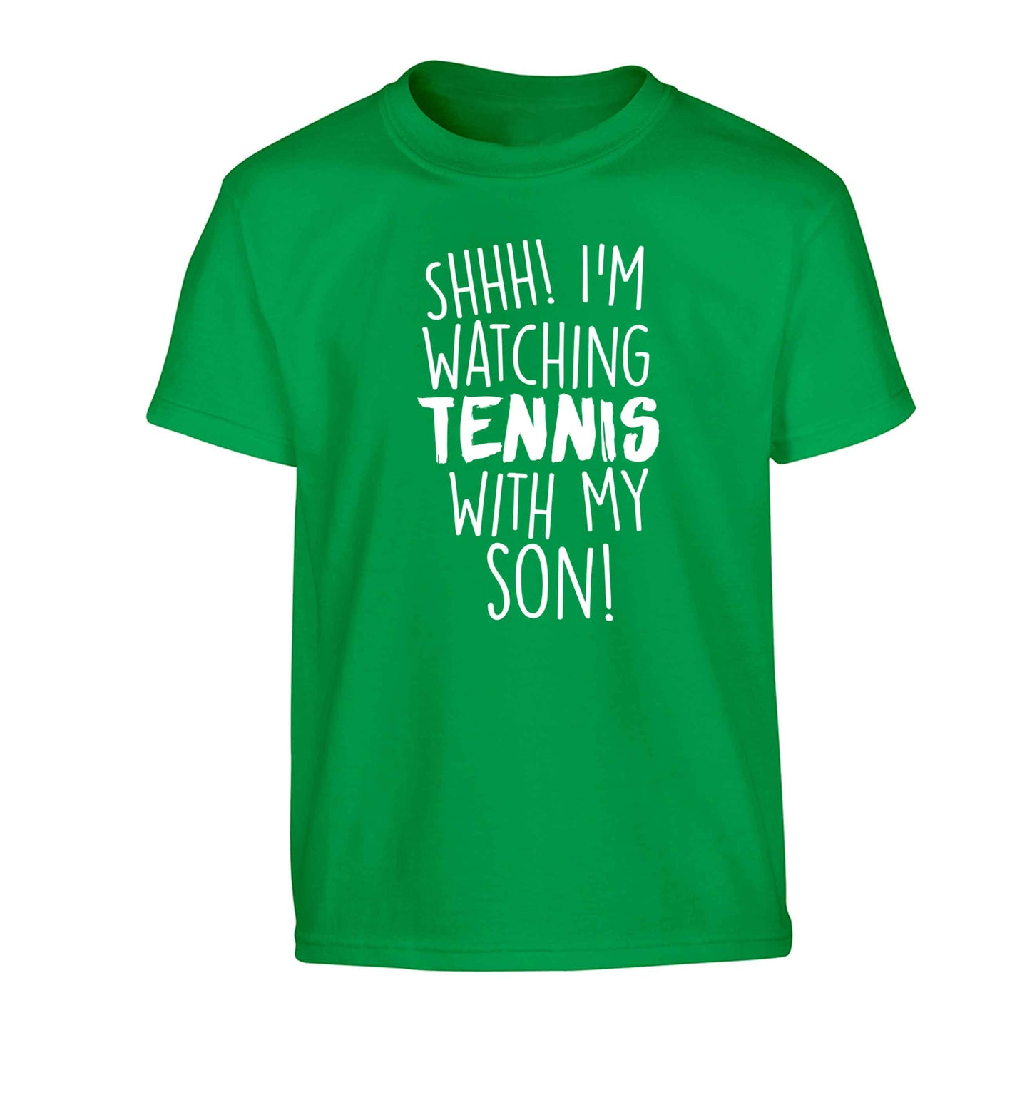 Shh! I'm watching tennis with my son! Children's green Tshirt 12-13 Years