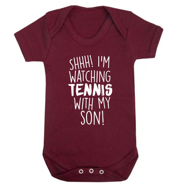 Shh! I'm watching tennis with my son! Baby Vest maroon 18-24 months
