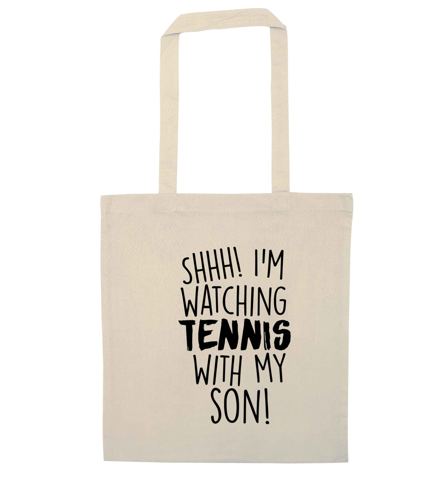 Shh! I'm watching tennis with my son! natural tote bag