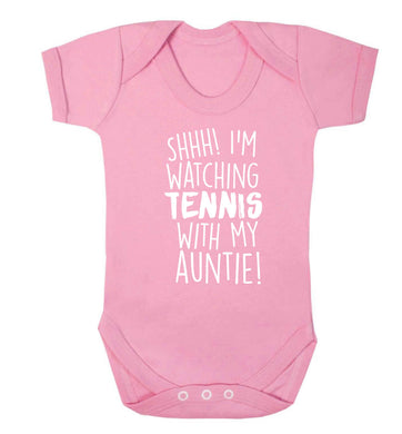 Shh! I'm watching tennis with my auntie! Baby Vest pale pink 18-24 months