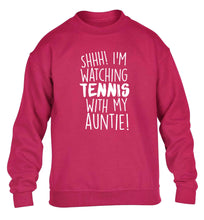 Shh! I'm watching tennis with my auntie! children's pink sweater 12-13 Years