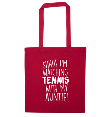 Shh! I'm watching tennis with my auntie! red tote bag