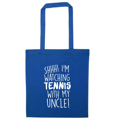 Shh! I'm watching tennis with my uncle! blue tote bag