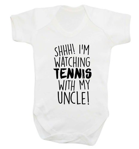 Shh! I'm watching tennis with my uncle! Baby Vest white 18-24 months