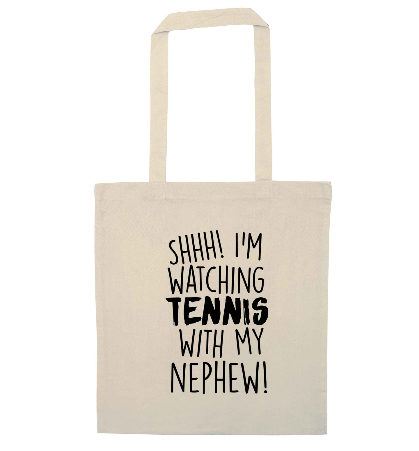 Shh! I'm watching tennis with my nephew! natural tote bag