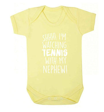 Shh! I'm watching tennis with my nephew! Baby Vest pale yellow 18-24 months