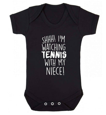 Shh! I'm watching tennis with my niece! Baby Vest black 18-24 months