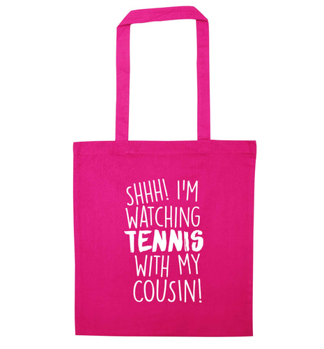 Shh! I'm watching tennis with my cousin! pink tote bag