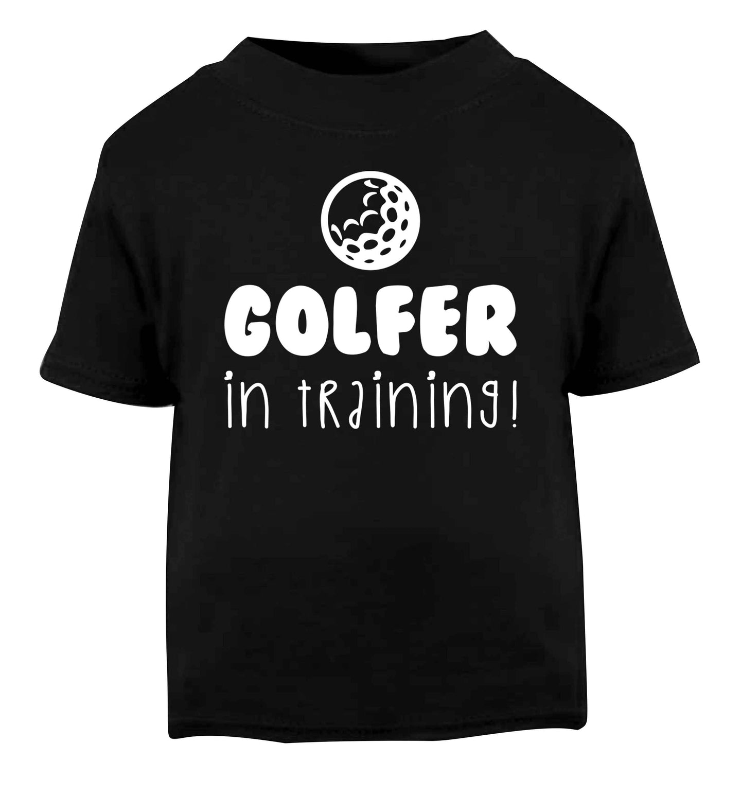 Golfer in training Black Baby Toddler Tshirt 2 years