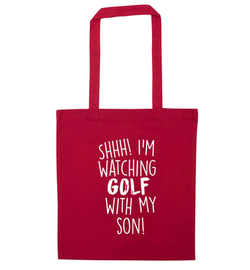 Shh I'm watching golf with my son red tote bag