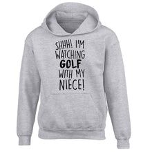 Shh I'm watching golf with my niece children's grey hoodie 12-13 Years