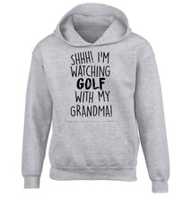 Shh I'm watching golf with my grandma children's grey hoodie 12-13 Years