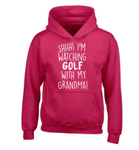 Shh I'm watching golf with my grandma children's pink hoodie 12-13 Years