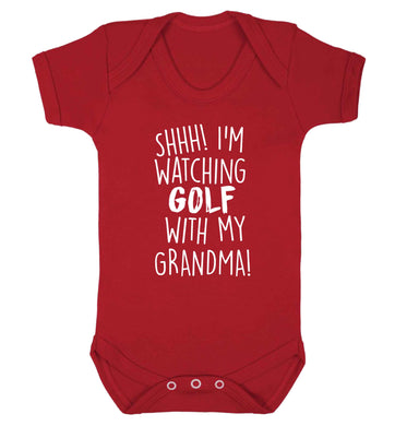 Shh I'm watching golf with my grandma Baby Vest red 18-24 months