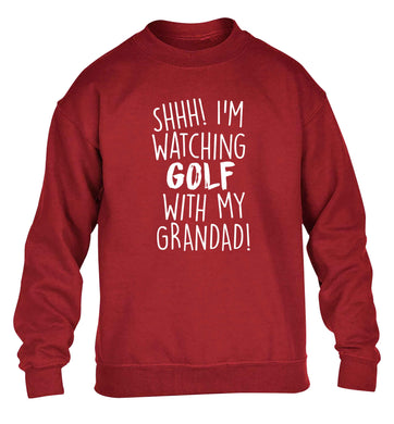 Shh I'm watching golf with my grandad children's grey sweater 12-13 Years