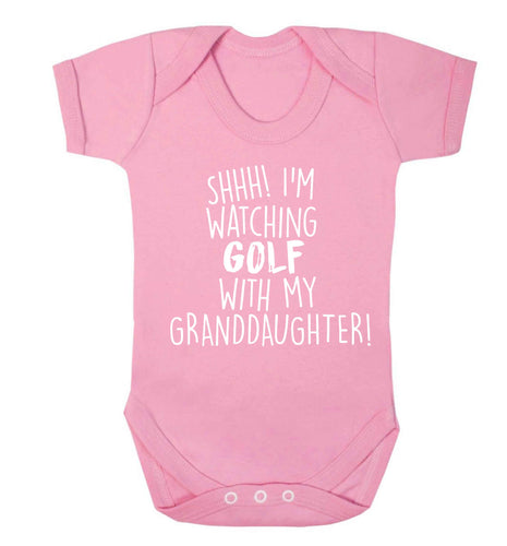Shh I'm watching golf with my granddaughter Baby Vest pale pink 18-24 months