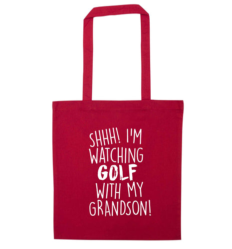 Shh I'm watching golf with my grandsonred tote bag