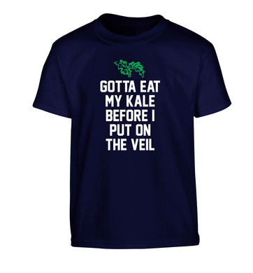 Gotta eat my kale before I put on the veil Children's navy Tshirt 12-13 Years