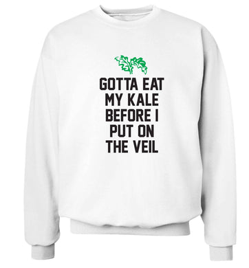 Gotta eat my kale before I put on the veil Adult's unisex white Sweater 2XL