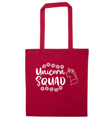 Unicorn Squad red tote bag