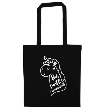 Ride with unicorns black tote bag
