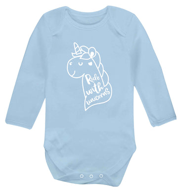 Ride with unicorns Baby Vest long sleeved pale blue 6-12 months