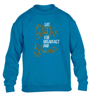 Eat glitter for breakfast and shine all day children's blue sweater 12-13 Years