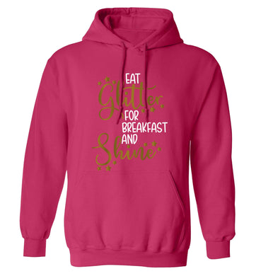 Eat glitter for breakfast and shine all day adults unisex pink hoodie 2XL