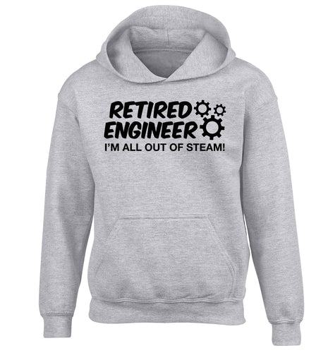 Retired engineer I'm all out of steam children's grey hoodie 12-13 Years