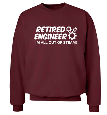 Retired engineer I'm all out of steam Adult's unisex maroon Sweater 2XL