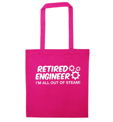Retired engineer I'm all out of steam pink tote bag