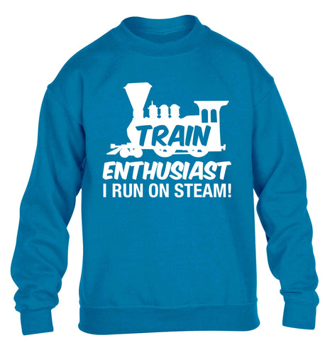 Train enthusiast I run on steam children's blue sweater 12-13 Years