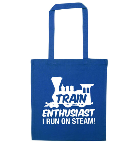 Train enthusiast I run on steam blue tote bag