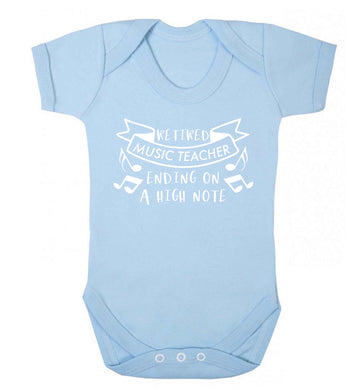Retired music teacher ending on a high note Baby Vest pale blue 18-24 months