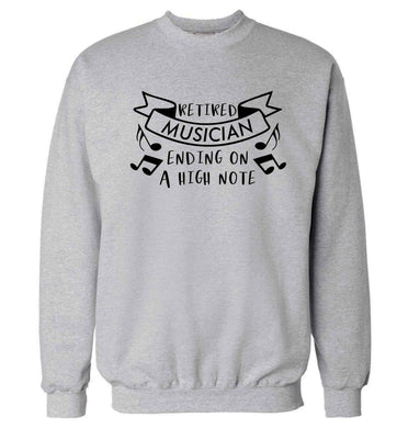 Retired musician ending on a high note Adult's unisex grey Sweater 2XL