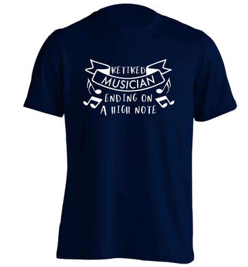 Retired musician ending on a high note adults unisex navy Tshirt 2XL